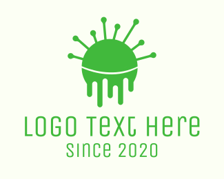 Melting - Green Dripping Virus logo design