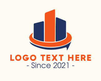 Profit - Blue & Orange Buildings logo design