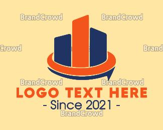 Downtown - Blue & Orange Buildings logo design