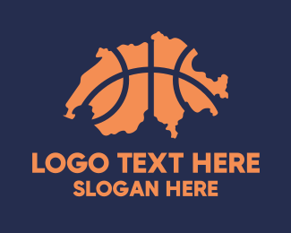 Hoops - Switzerland Basketball Team logo design