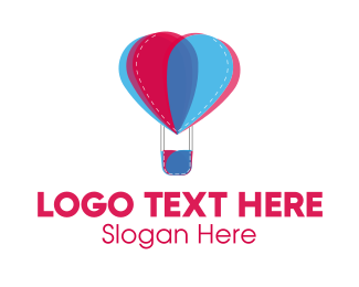 Hot Air Balloon - Flower Balloon logo design