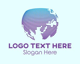 World Map - Digital World Map logo design