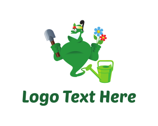 Lawn - Gardener Genie Cartoon logo design