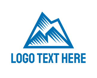 Iceberg - Blue Polygon Mountain logo design