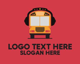 School - Music School Bus logo design