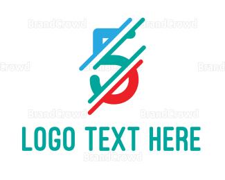 Distorted - Distorted Colorful Number 5 logo design