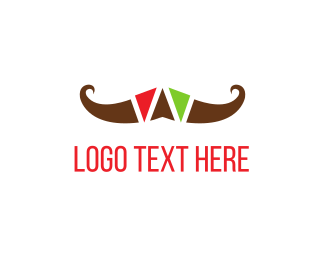 Mustache - Colorful Mustache logo design