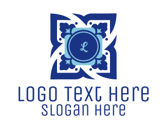 """Floral Blue Lettermark"" by radkedesign"