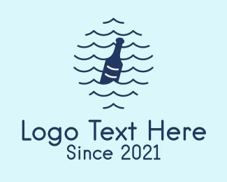 Alcohol - Blue Wave Bottle logo design