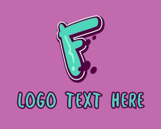 Street Artist - Modern Graffiti Letter F logo design
