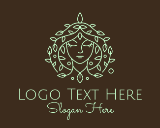 Goddess - Green Leaf Hair Woman logo design