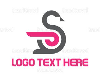 Goose - Swan Letter S logo design