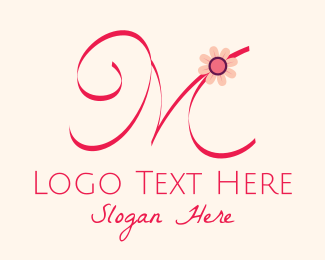 Beauty Products - Pink Flower Letter M logo design