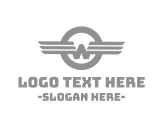 Typography - Vintage W Wing logo design