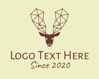 Elk - Geometric Brown Reindeer logo design
