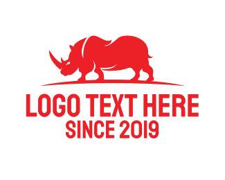 Red Rhino - Red Wild Rhino  logo design