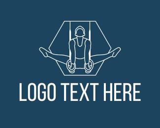 Gymnast - Gymnastics Ring Olympian logo design
