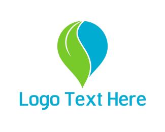 Curve - Leaf Drop logo design