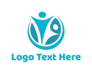 Happiness - Blue Couple logo design