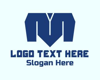 T-shirt - Blue Letter M logo design