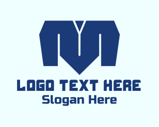 T-shirt - Blue Letter M logo design