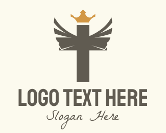 Risen - Winged Royal Cross logo design