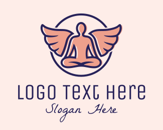 Yoga - Angel Wings Yoga Guru logo design