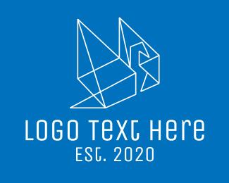 Origami - Geometric Bird Origami  logo design