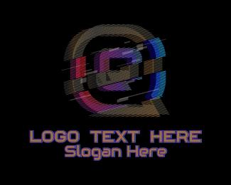 Malfunction - Gradient Glitch Letter Q logo design
