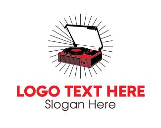 Album - Red Vinyl Record Player logo design