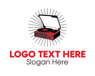 Vintage - Red Vinyl Record Player logo design