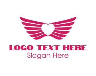 Winged - Pink Winged Heart logo design