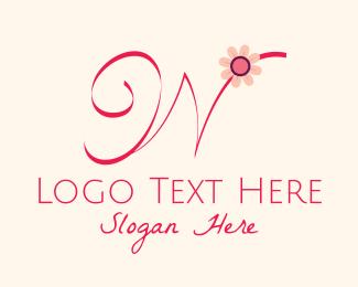 Calligraphy - Pink Flower Letter W logo design
