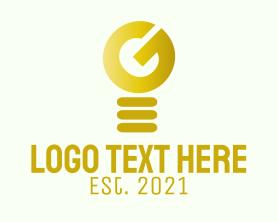 Intelligent - Golden Light Bulb Letter G logo design
