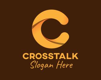Random Golden Brown Letter C logo design