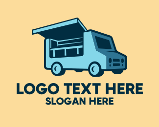 Mobile Restaurant - Blue Food Stall Truck logo design