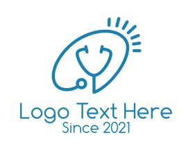 Medical - Blue Stethoscope Outline logo design
