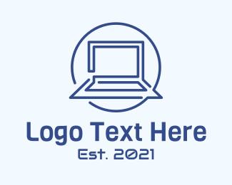 Line Art - Laptop Line Art logo design