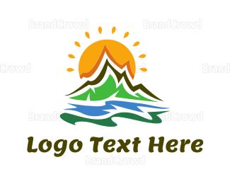 Flow - Funky Landscape logo design