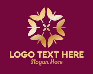 Wedding Organizer - Golden Elegant Leaf Floral  logo design