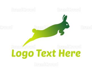 Jump - Green Rabbit  logo design