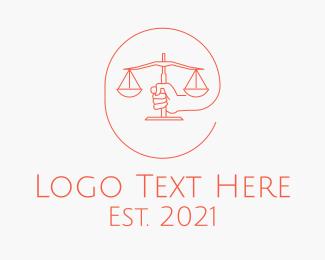 Numerology - Minimalist Law Scale  logo design