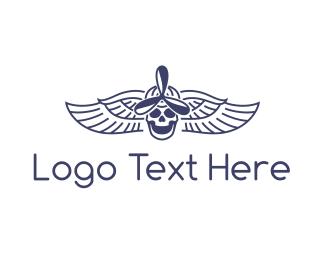 Ghoul - Propeller Skull Wing logo design