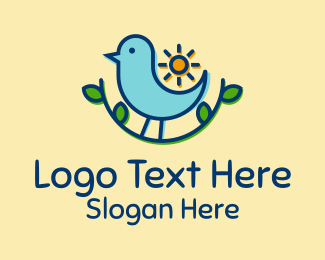 Twitter - Sun Sparrow Bird logo design