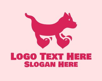 Hearts - Dog Heart Paws  logo design
