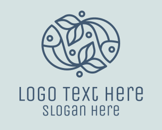 Pisces - Fish Bubble Outline logo design
