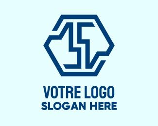 Construction Blue Construction Hexagon logo design