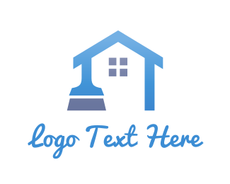Cleaning - Blue Home Brush logo design