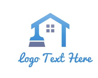 Cleaner - Blue Home Brush logo design