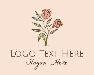 Flowers - Natural Rose Flowers  logo design